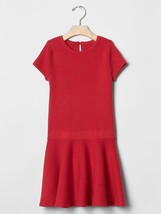 GAP Kids Girl Red Ribbed Fit & Flare Sweater Dress Drop Waist XS L 4 5 1... - $25.99