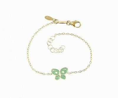 18 KT YELLOW GOLD BRACELET FOR KIDS WITH GLAZED BUTTERFLY MADE IN ITALY 5.5 IN