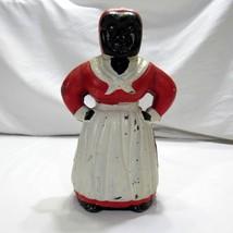 Vintage Black Americana Cast Iron Bank Mammy Aunt Jemima Maid Red White - $99.99
