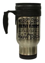 Dog Lovers #1 Dog Dad 12 Oz Stainless Steel Hot/Cold Travel Mug - $16.78