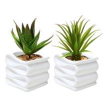 MyGift Set of 2 Modern Decorative Folded Design Small Ceramic Plant Pot/... - $25.09 CAD