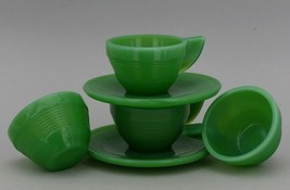 Vintage Akro Agate Toy Dishes Jadeite Concentric Ring 4 Cups 2 Saucers image 2