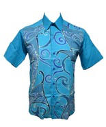 Malaysia Batik Tulis Handpaint Mens Shirt M Cotton Formal Dressy Artisan Tie Dye - $56.99
