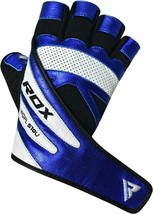 RDX MMA Kick Boxing GYM PAPER LEATHER GLOVES BLUE COLOR TOP QUALITY GREA... - $74.00