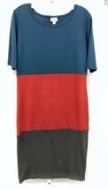 LuLaRoe Julia Womens Sz Medium Dress Color Block Blue Red Gray Fitted 141 - $22.80