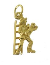 10K GOLD Community Firefighter to the rescue serve & protect charm save baby NEW - $157.16