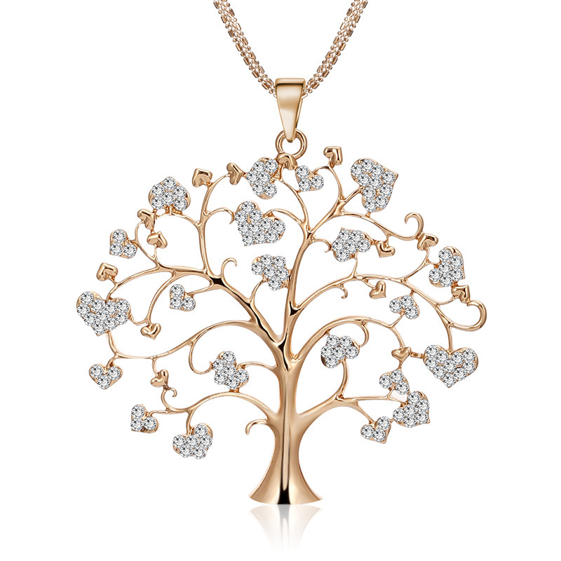 An and american simple heart set glass sone wish tree necklace creative personality tree of life