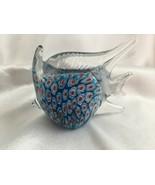 MILLEFIORI  Art Glass Tropical ANGEL FISH Paper Weight Blue - $12.79