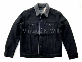 Levis Red Tab Mens Type 3 Duvall Black Denim Jean Sherpa Lined Trucker J... - $103.55