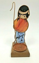 De Grazia Stained Glass Signed Native American Figure Candle Holder Shepard - $48.99