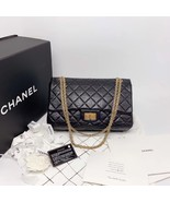 Auth Chanel Black 2.55 Reissue Quilted Age Calfskin 227 Jumbo Double Fla... - $3,999.99