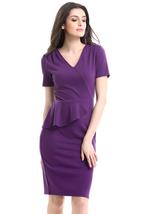 Unomatch Women Short Sleeves Fit Pencil Skirt Dress Purple - $24.99