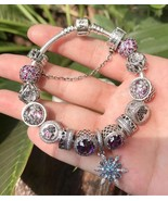 925 Sterling Silver Complete Finished Beads Charm Bracelet-Dazzling Dais... - $175.00