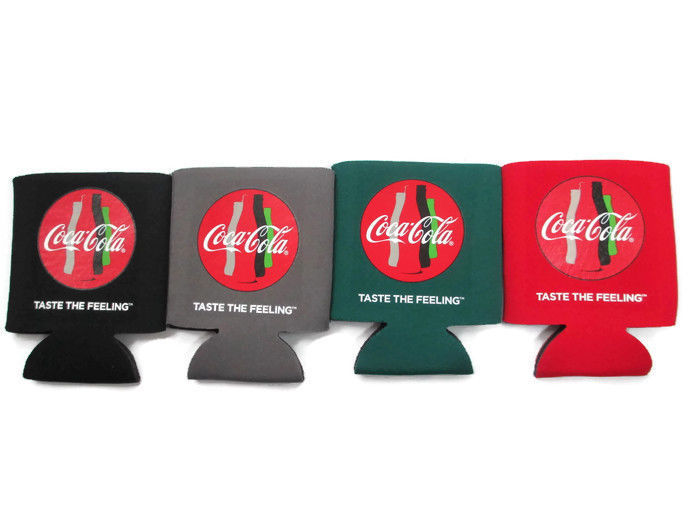 Primary image for Coca-Cola Set of 4 koozies- 1 each in Black, Grey, Green, and Red  Free Shipping