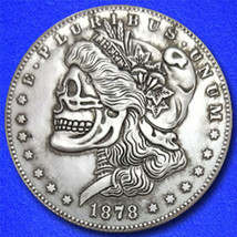 "Liberty Skull ""Hobo Nickel"" on Morgan Dollar Coin ** - $2.29"