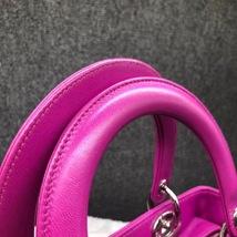 AUTH Christian Dior Lady Dior Medium Fuchsia Pink Cannage Lambskin Tote Bag SHW image 4