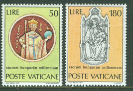 1971 St Stephen of Hungary Set of 2 Vatican Stamps Catalog Number 513-14 MNH