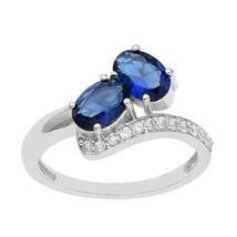 Oval Cut Blue Natural Zircon 925 Sterling Silver Bypass Wrap Open Promis... - $13.95