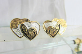 Double Hearts Damascene Earrings Pierced Silver Plate Black White Acccent - $11.70