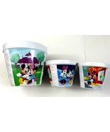 Disney Mickey Minnie Mouse On A Date Ceramic Flower Pot Set Of 3   - $24.99