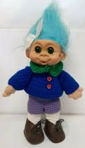 "Custom Troll 12"" Vtg 90s Blue Purple Green Handmade Crochet Outfit Blue ... - $39.59"