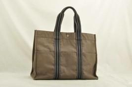 HERMES Fourre Tout GM Tote Bag Gray Cotton Auth cr073 - $210.00
