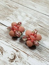 Vintage Clip On Earrings Pink Felt Ball and Bead - $9.99