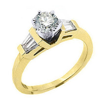 1 CARAT WOMENS DIAMOND ENGAGEMENT WEDDING RING ROUND BAGUETTE CUT YELLOW... - £2,011.99 GBP