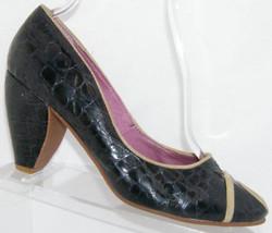 Faryl Robin Anthropologie black animal print retro peep toe slip on heel... - $26.79