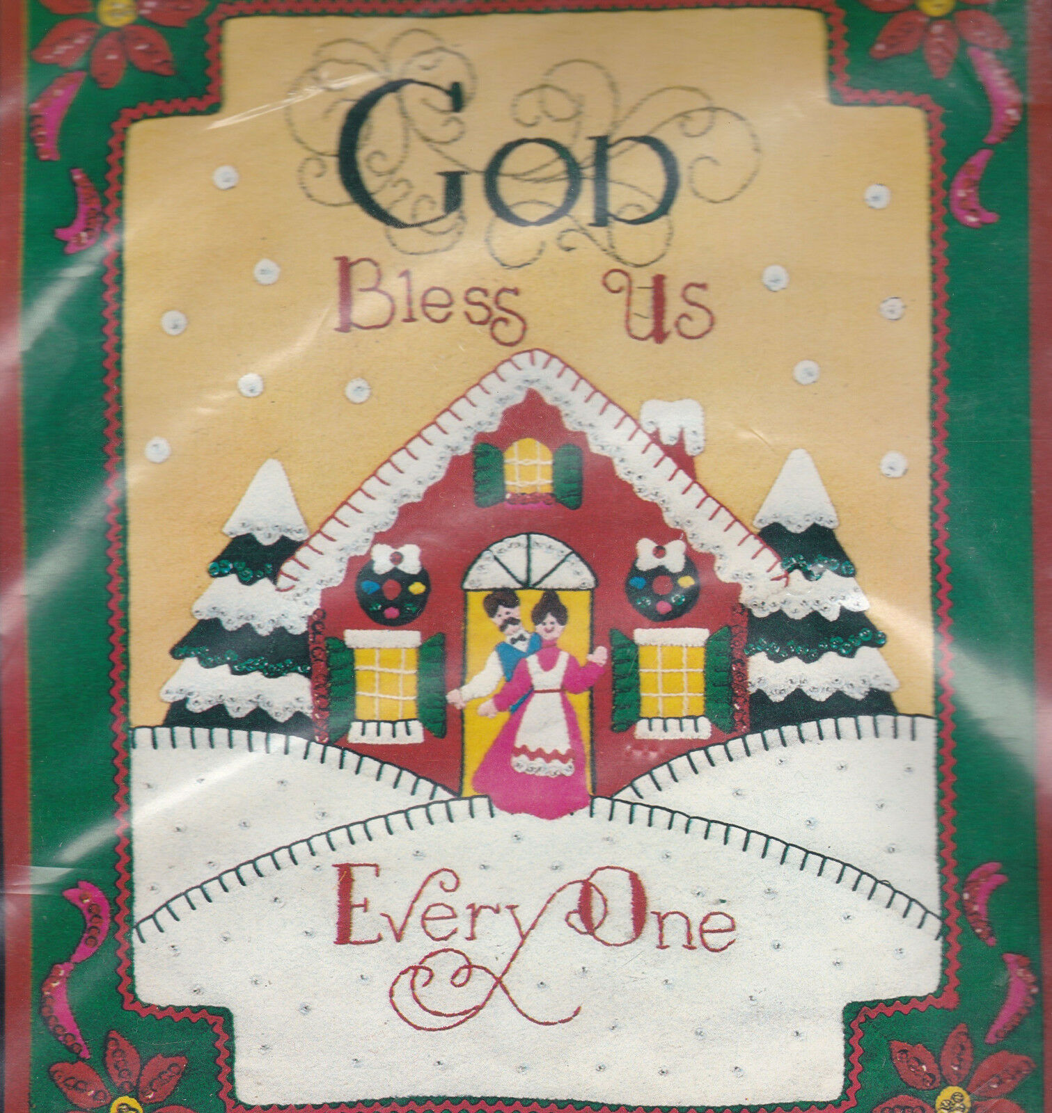 Primary image for Christmas Kit God Bless Us Everyone Bucilla Jewel Felt Applique Panel Embroidery