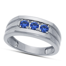3 Stone Blue Sapphire Mens Anniversary Ring Band 14k White Gold Over 925... - £67.94 GBP