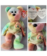 Ty Beanie Baby Peace Bear Original Rare Fareham Hants P.V.C. Error Wrong... - $169.28