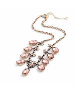 Personality Hot Luxurious Shining Gem Pink & Clear Pendant Ladies Necklace - $21.73