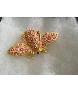 Joan Rivers Cherry Blossom Pink Flowers BEE PIN BROOCH Large Enameled Gold - $67.62