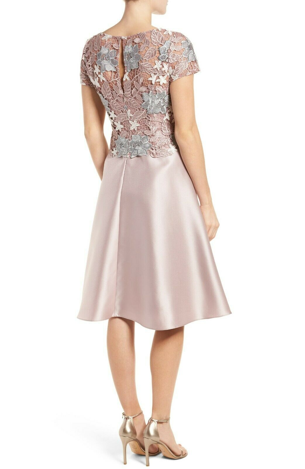 Adrianna Papell AP1E201246 Guipure Lace & Mikado Dress Sz 14