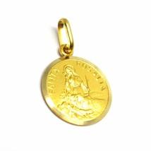 18K YELLOW GOLD MEDAL PENDANT, SAINT SANTA ROSALIA SMALL 14mm VERY DETAILED image 2