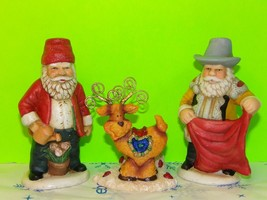 Mixed Lot Of Christmas Display Decorations 2 Santa Claus And 1 Reindeer - $9.86