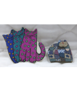 Cat Pin Brooch Lot of 2 Polka a dot & Quilted Plaid with Hearts Both Sig... - $6.00