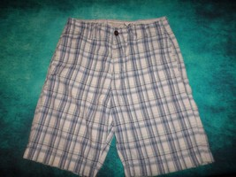 AMERICAN EAGLE Mens SHORTS sz 32 34 actual Plaid Cotton White Navy Blue ... - $10.00