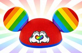 Disney Parks Mickey Mouse Rainbow LGBT Gay Pride Heart Gloves Ear Hat NWT - $19.59