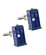 TARDIS CUFFLINKS Dr Who Police Phone Box 3D Blue Enamel w GIFT BAG Sci-F... - $9.95
