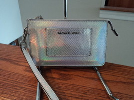 Michael Kors Small Pocket Gusset Embossed Leather Wristlet Rainbow Silve... - £43.33 GBP