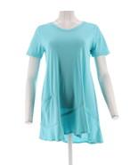 LOGO Lori Goldstein Short Slv Knit Top Asymmetric Hem Aquamarine XS NEW ... - $29.68