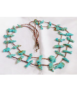 VTG Zuni Turquoise Fetish Heishi Sterling Silver cones two strand Necklace - $200.00