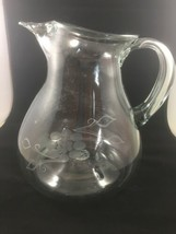 Large Etched Glass Pitcher Vintage Handblown - $3.37