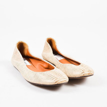 Lanvin NIB Beige & Metallic Gold Leather Embossed Ballerina Flats SZ 35 - $360.00