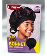 RED BY KISS KIDS PREMIUM SILKY SATIN BONNET WITH WIDE BAND #HJ03 BLACK  - $3.55