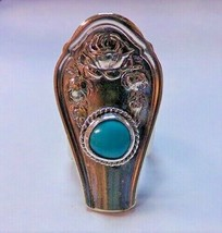 "Silverplate Roses & Sleeping Beauty Turquoise Spoon Ring Sz 9 Huge 1 3/4""  - $29.99"