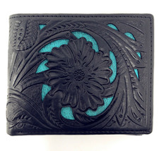 Texas West Mens Genuine Leather Short Bi-fold Wallet Tooled Floral Leaves - $19.99