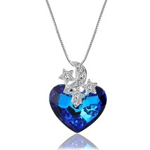 """Brave Heart"" Blue Heart Crystal Necklace Pendant Made with Crystal - $62.49"
